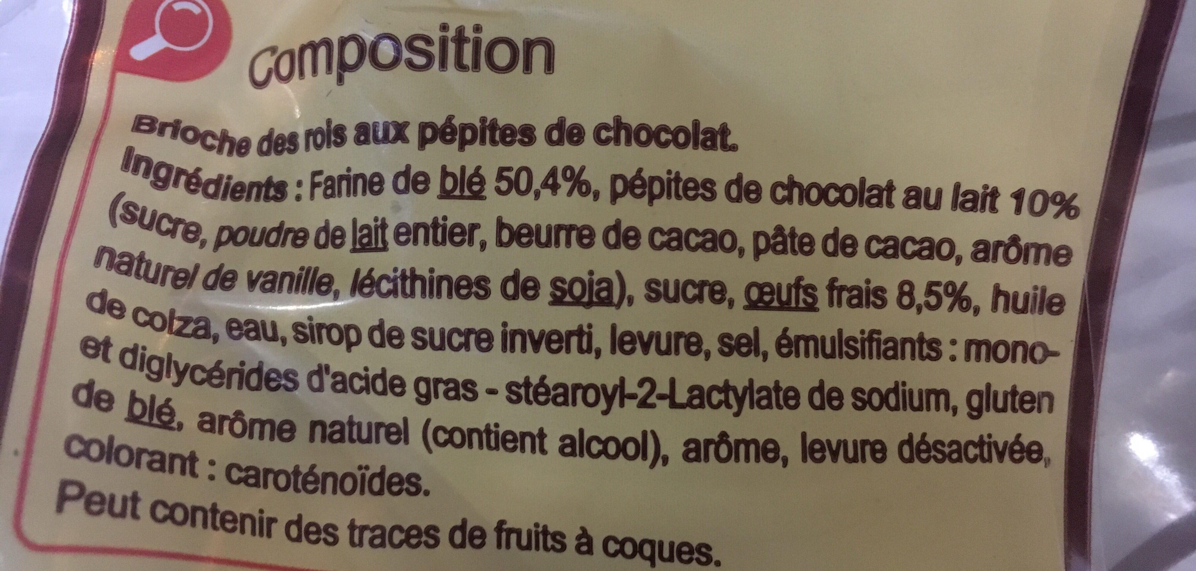 La Brioche des rois Aux pépites de chocolat au lait - Ingredients - fr