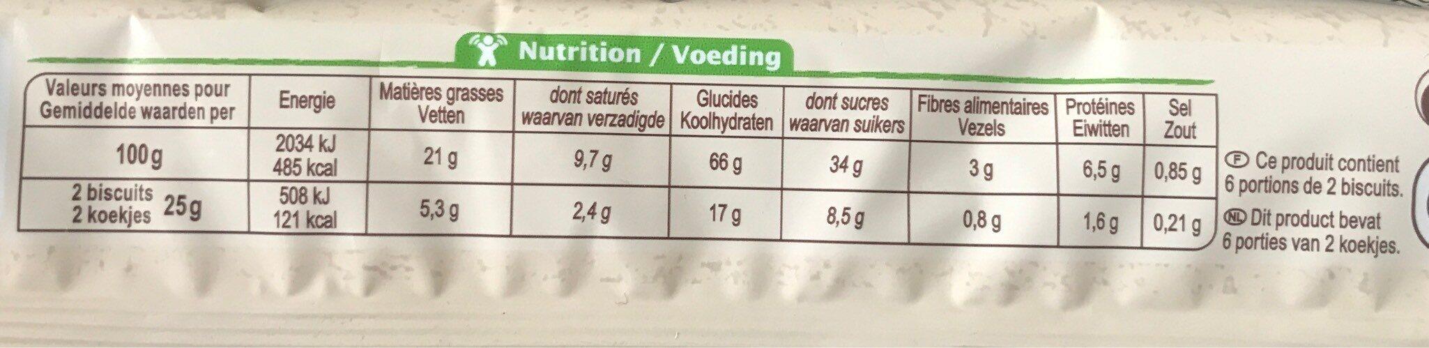 Biscuit Croustillant Blé Et Avoine - Voedingswaarden - fr