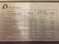 Palets Breton Au beurre et aux œufs frais - Voedingswaarden - fr