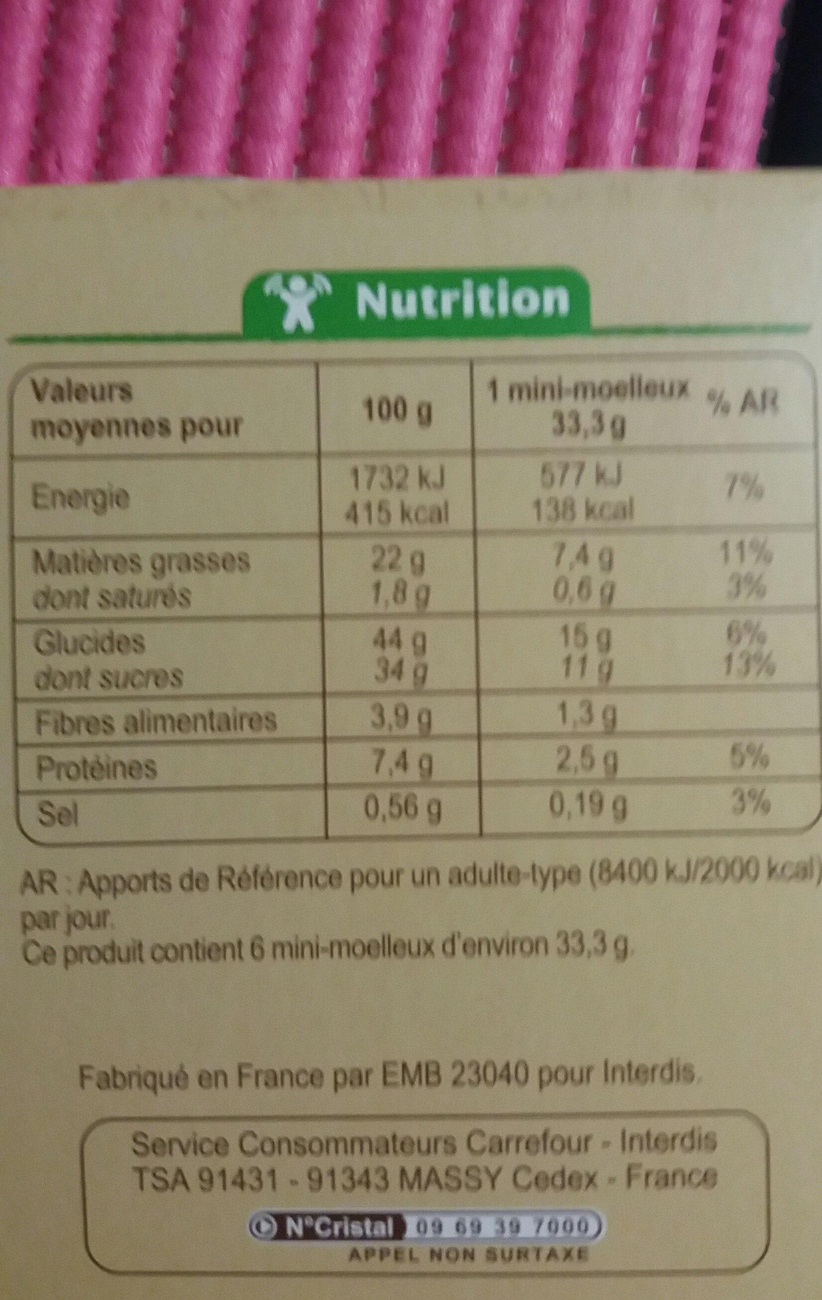 Mini moelleux citron graines de pavot - Informations nutritionnelles - fr