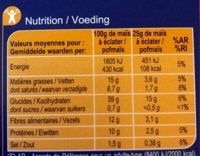 Popcorn salé - Nutrition facts - fr