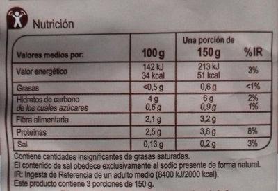 Assortiment de champignons - Información nutricional - es