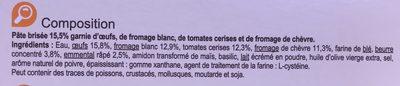 Tarte Tomates Chevre - Ingrédients