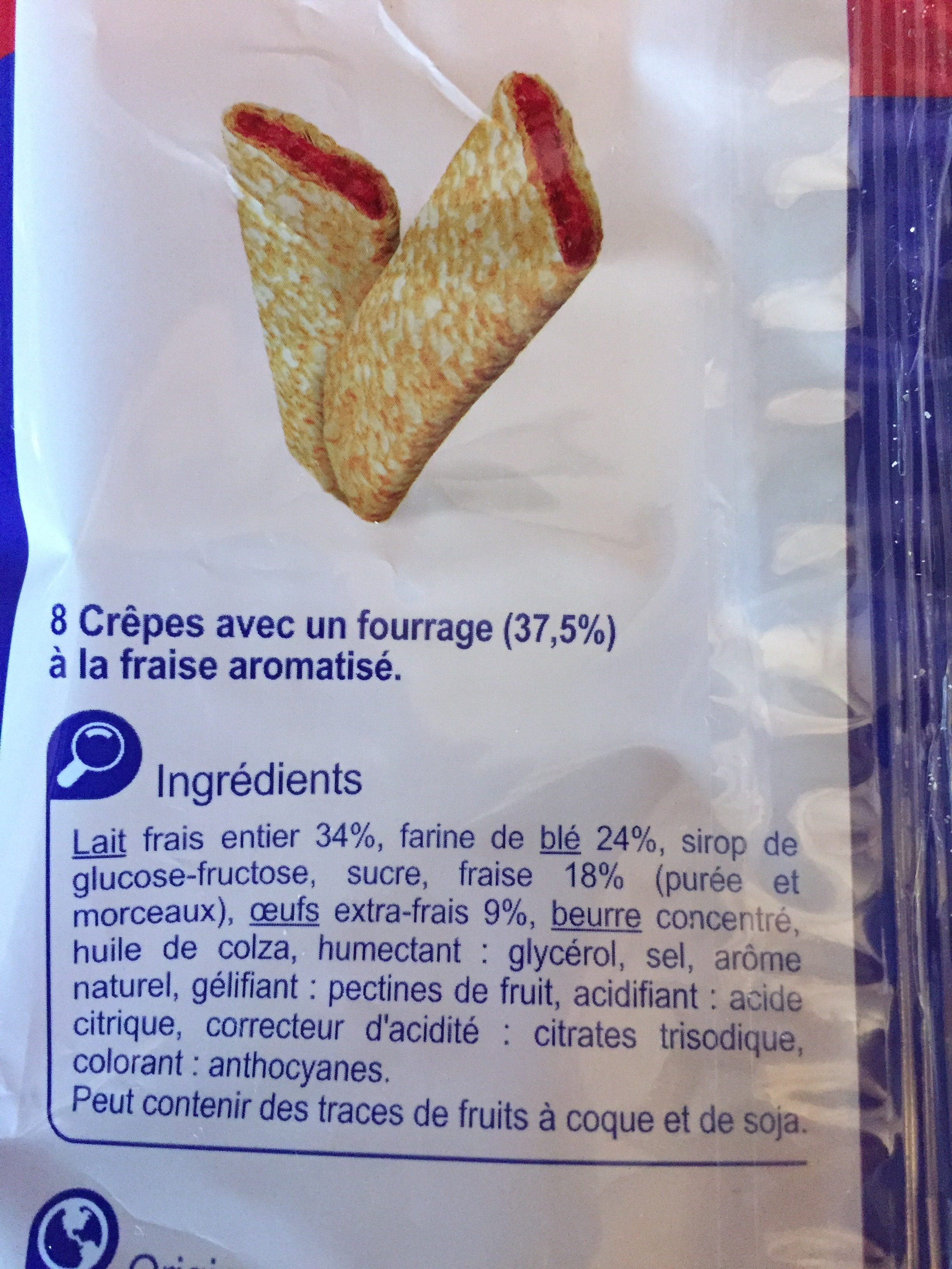 Crêpes  fourrage à la Fraise - Ingredients