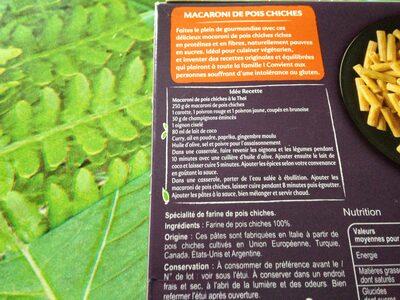 Macaroni de pois chiches 100% légumineuse - Ingredientes