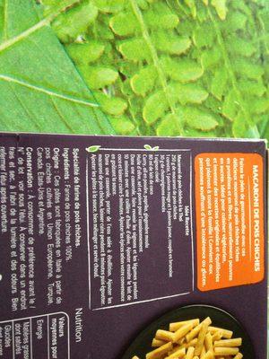 Macaroni de pois chiches 100% légumineuse - Ingredients