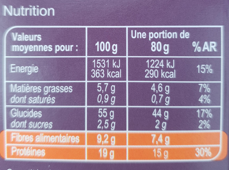 Macaroni de pois chiches 100% légumineuse - Información nutricional