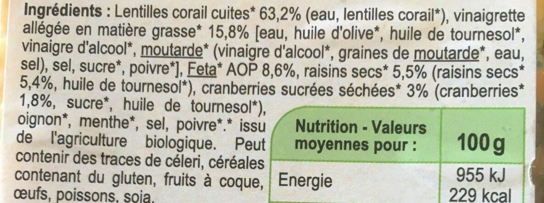 Lentilles corail Feta & Cranberries - Ingrediënten - fr