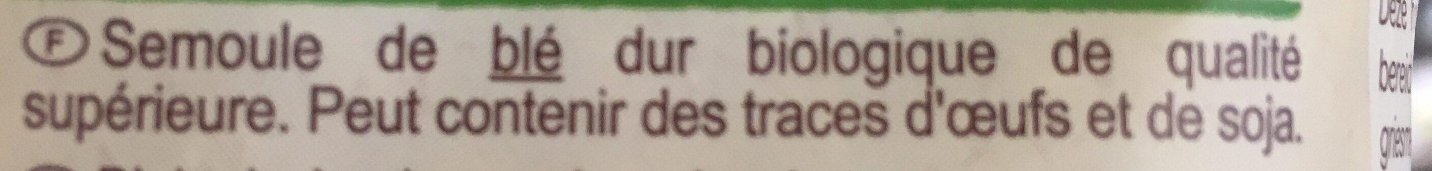 Coquillette Bio - Ingrédients - fr