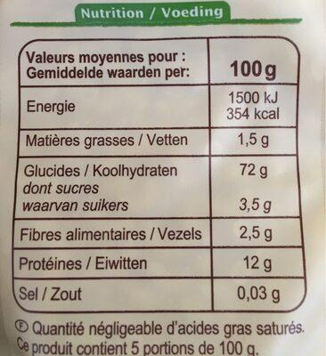 Coquillette Bio - Informations nutritionnelles - fr