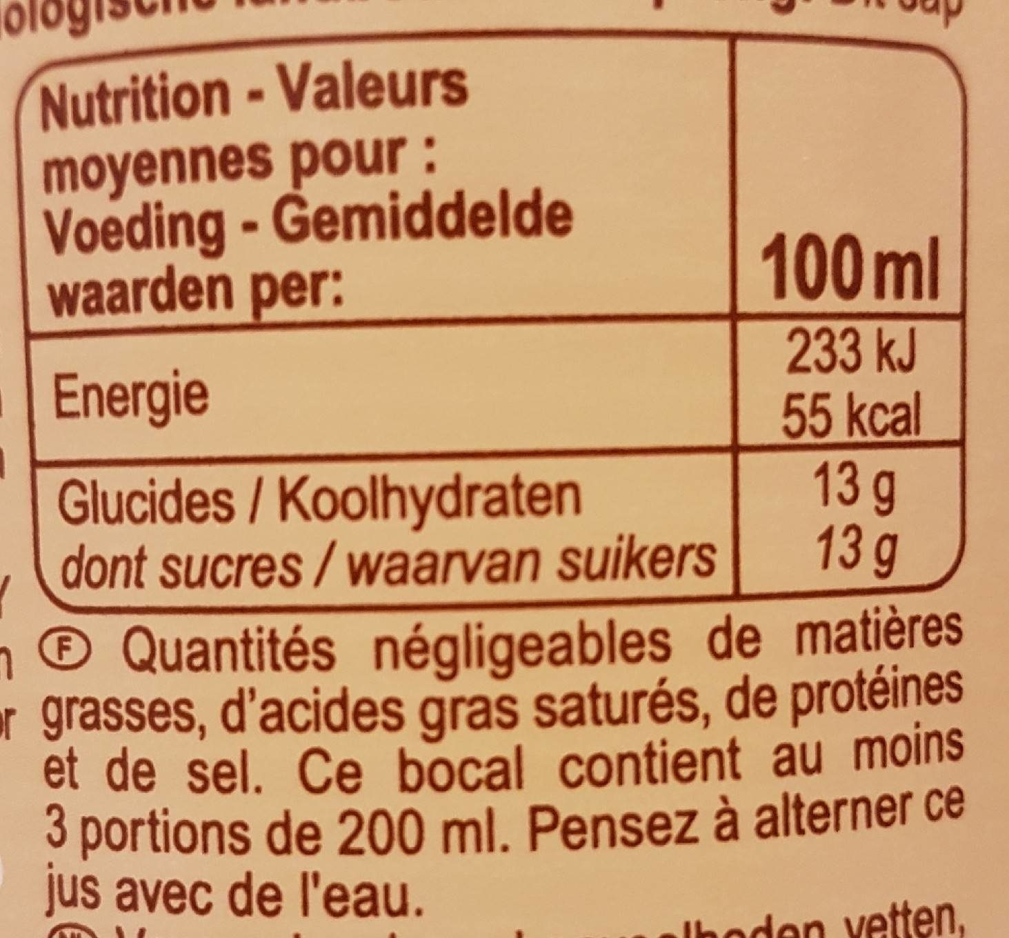 100% Pur fruit pressé Jus d'Ananas du Bénin BIO - Valori nutrizionali - fr