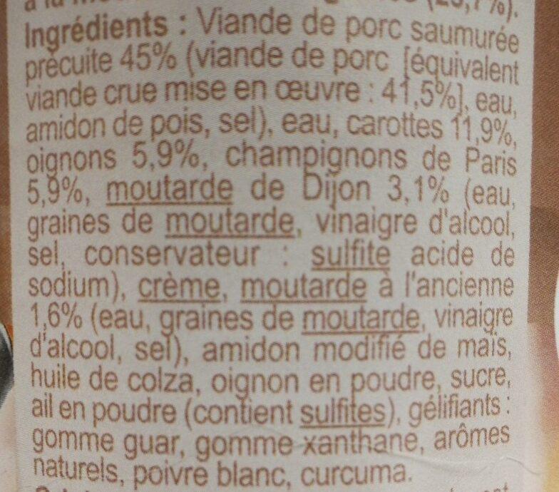 Porc à la moutarde - Ingrédients - fr