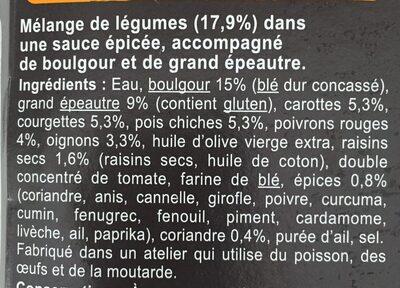 Tajine de Légumes épicés, boulgour, grand épeautre - Ingrédients - fr