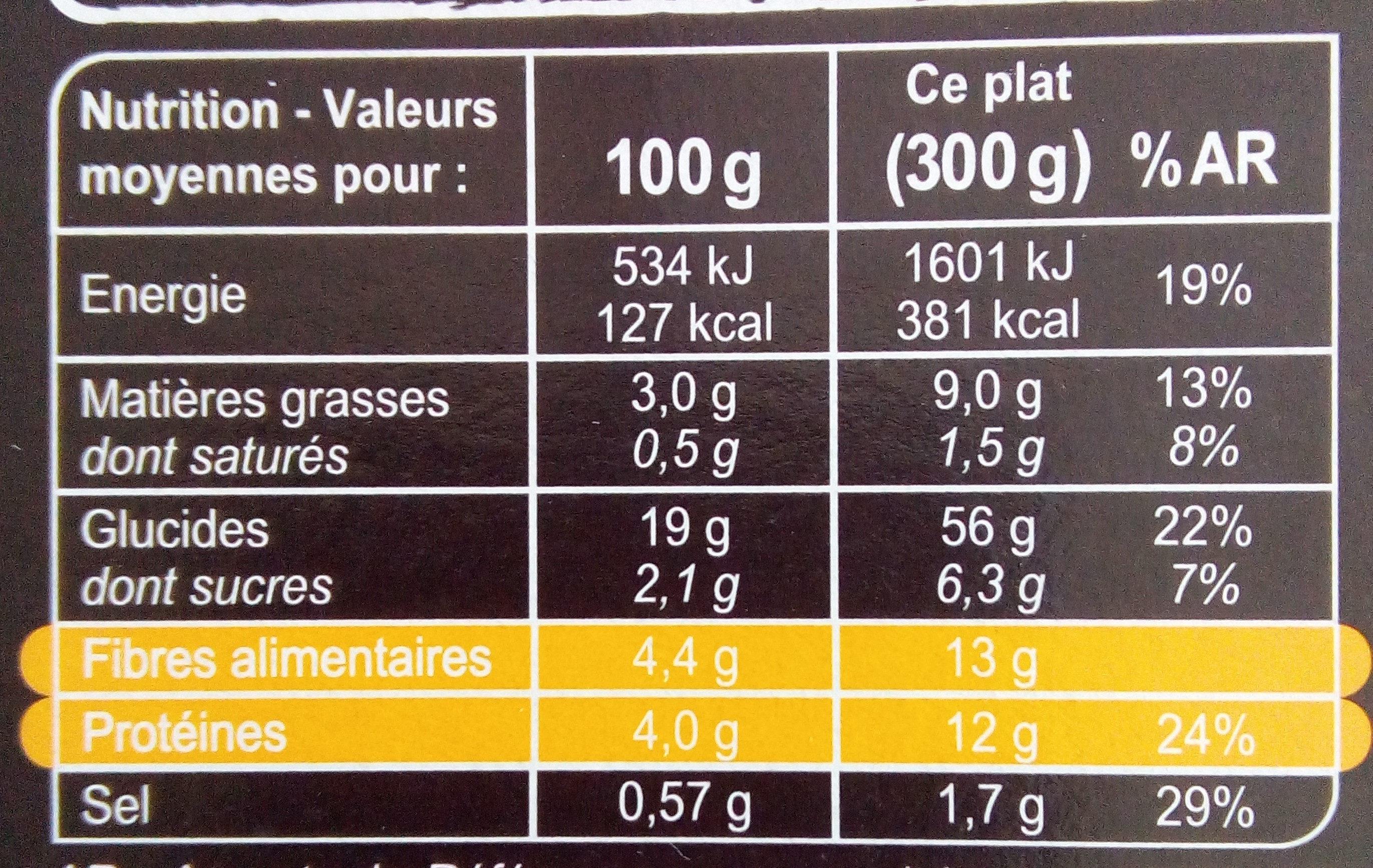 Tajine de Légumes épicés, boulgour, grand épeautre - Informations nutritionnelles - fr