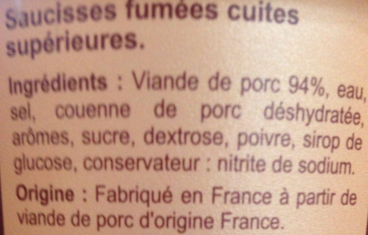Mini Saucisses fumées - Ingrédients - fr