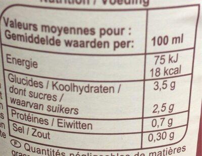 Jus de Tomates de Marmande - Nutrition facts - fr