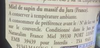 Miel de sapin du massif du Jura - Ingrédients - fr