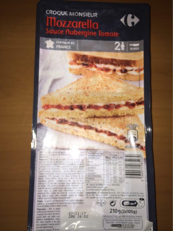 Croque monsieur mozzallera sauce aubergine tomate - Product - fr