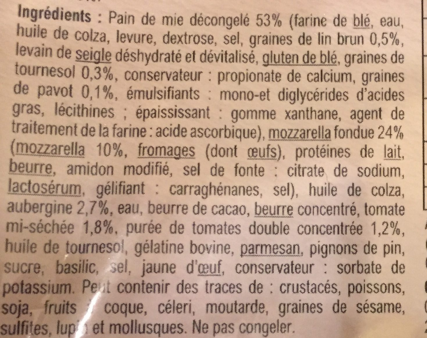 Croque monsieur mozzallera sauce aubergine tomate - Ingredients - fr