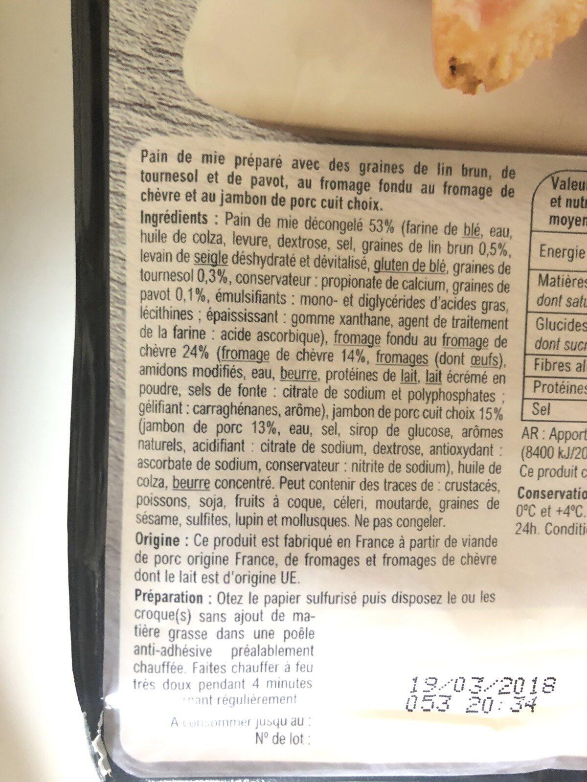 Croque Monsieur Chevre Jambon - Ingrédients - fr