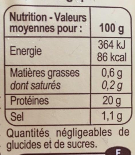 Crevettes décortiquées cuites bio - Valori nutrizionali - fr