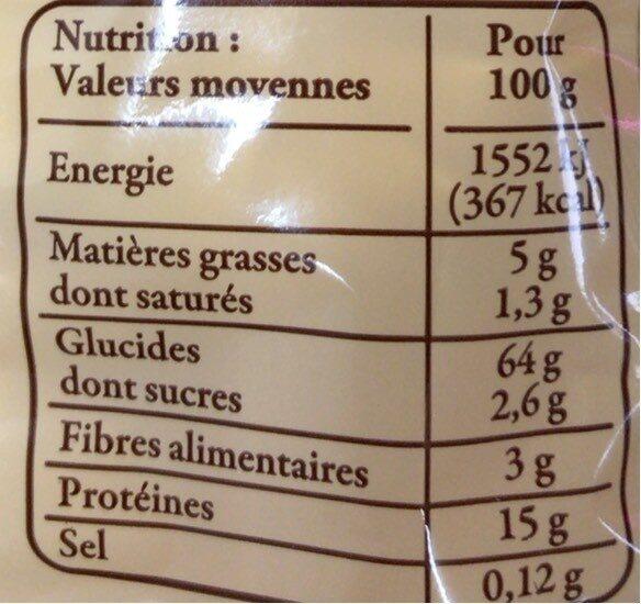 Pâtes d Alsace IGP - Voedingswaarden - fr