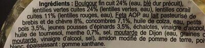 Salade lentilles boulgour et feta - Ingrediënten - fr