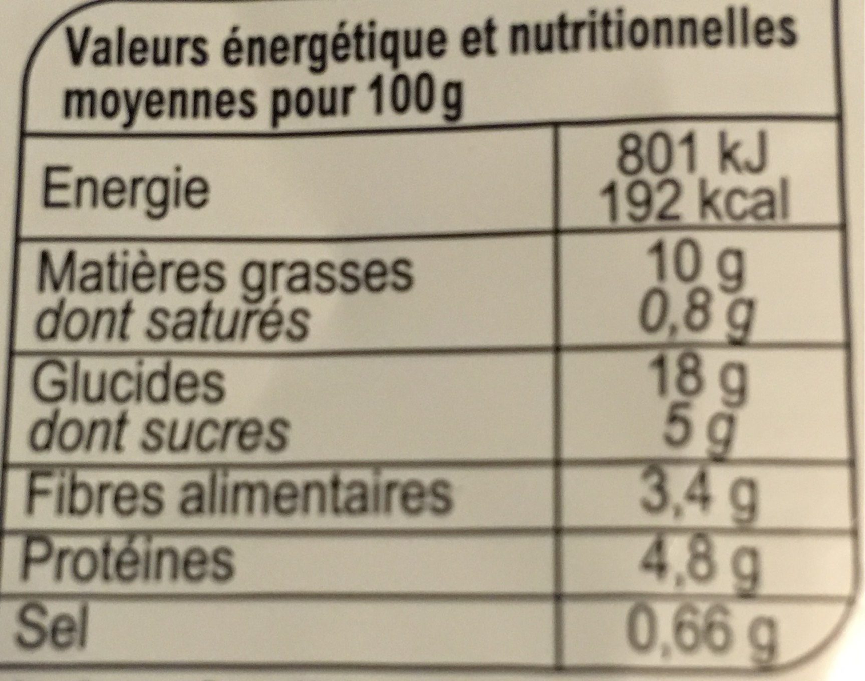 Taboulé fruits secs tomate - Nutrition facts