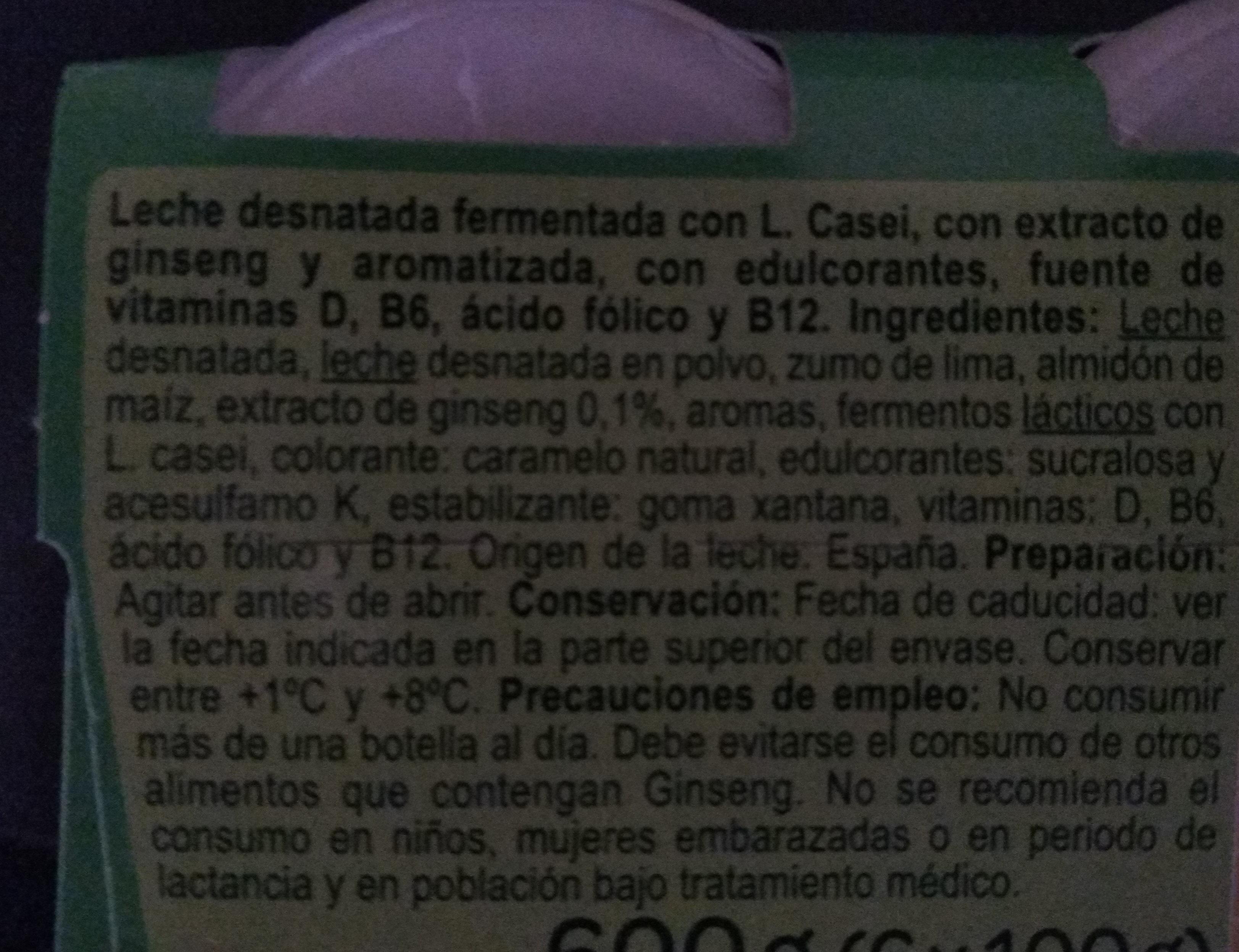Yogurt líquido L. Casei - Ingredients - es