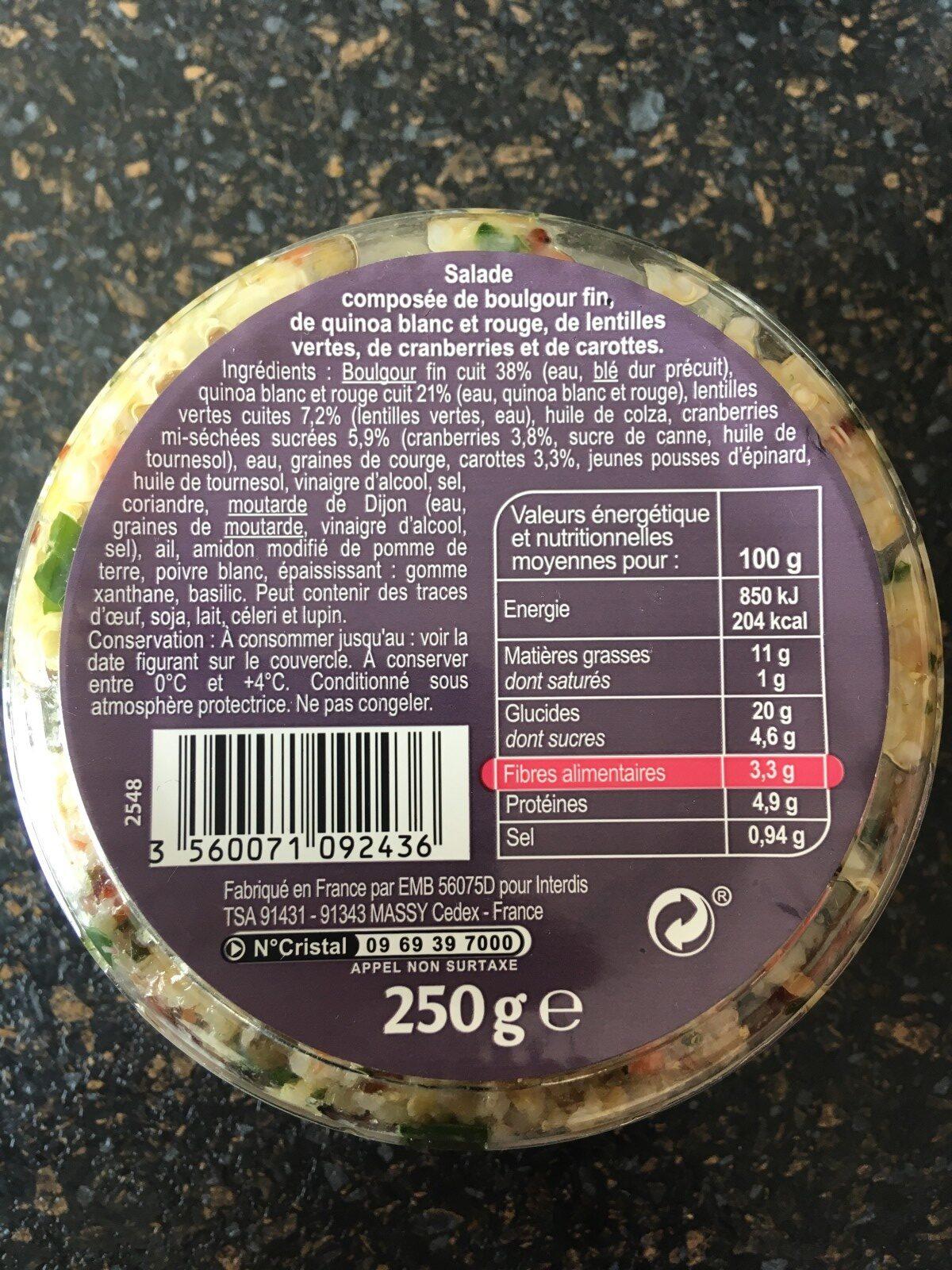 Salade Boulgour, Quinoa, Cranberries - Ingredients