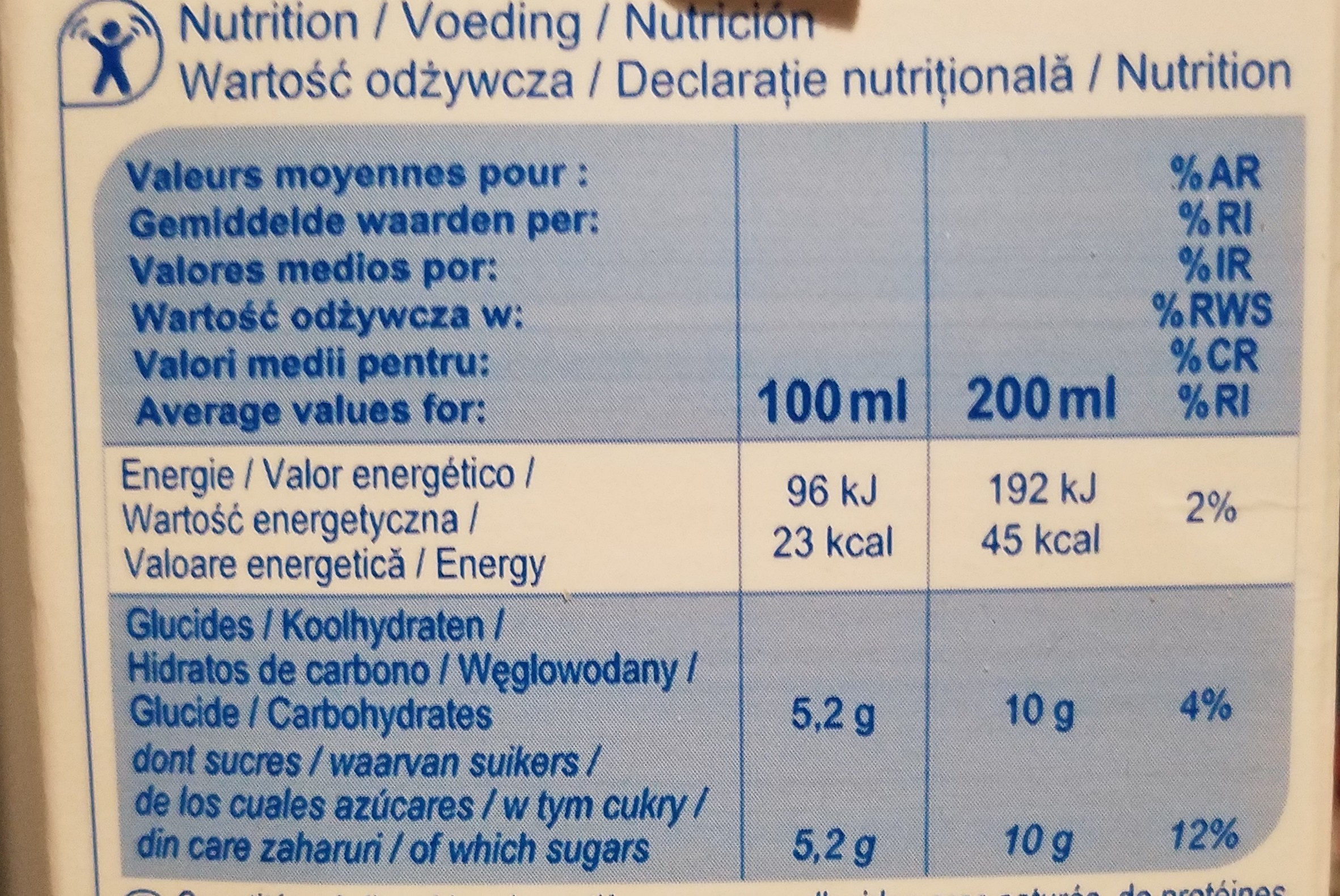 Orange nectar - Valori nutrizionali - fr