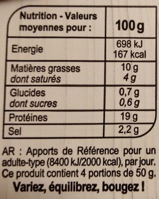 Allumettes Nature - Informations nutritionnelles