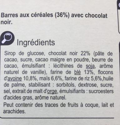 Barres céréalieres chocolat noir - Ingrediënten - fr