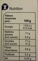 Barres céréalieres chocolat noir - Voedingswaarden - fr