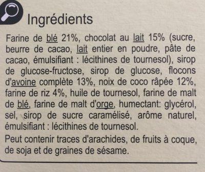 Barre céréales chocolat noix de coco - Ingredients