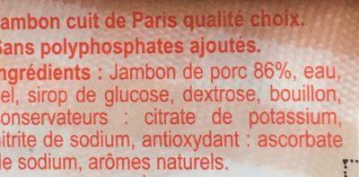 Jambon de Paris cuit à l'étouffée - Ingrédients - fr