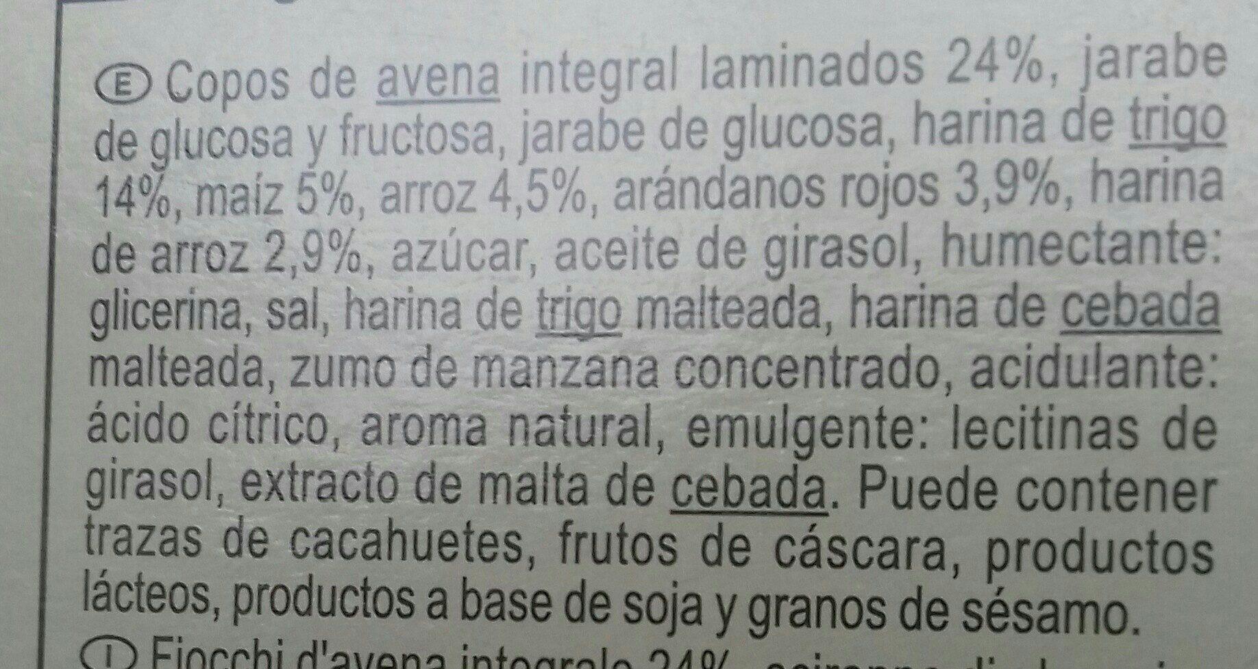 Barritas de cereales Arándanos rojos - Ingredientes