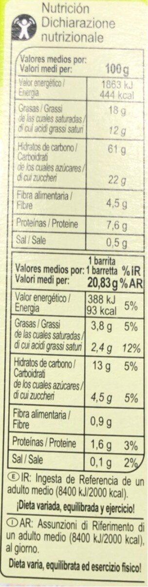Barritas de cereales chocoleche y coco - Información nutricional - it