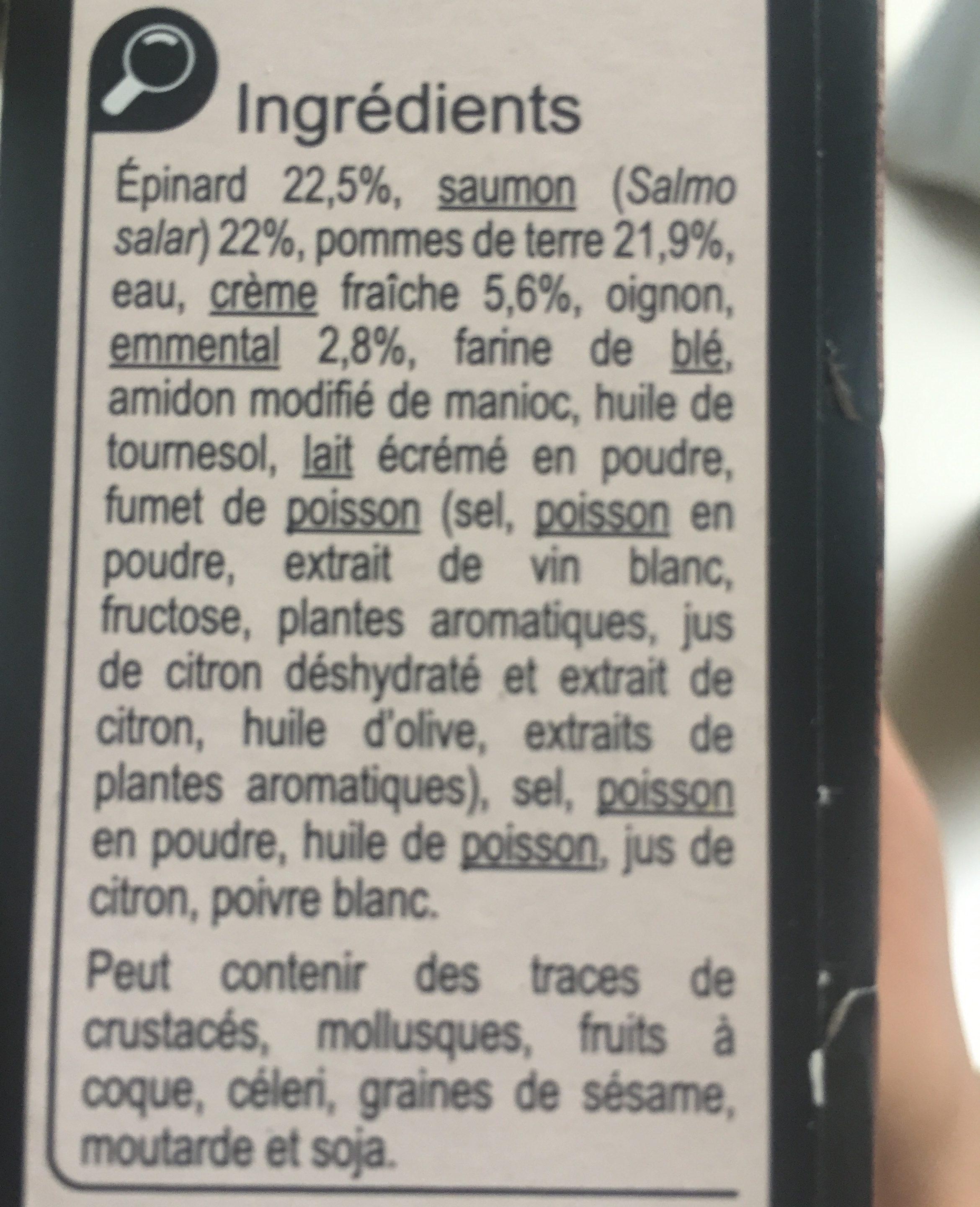 Ecrasé de pommes de terre,saumon et epinards - Ingrédients - fr