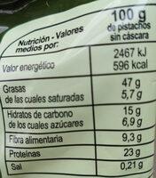 Pistachos tostados sin sal añadida - Información nutricional - es