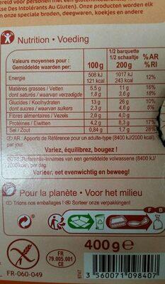 Lasagnes aux légumes grillés sans gluten - Nutrition facts - fr