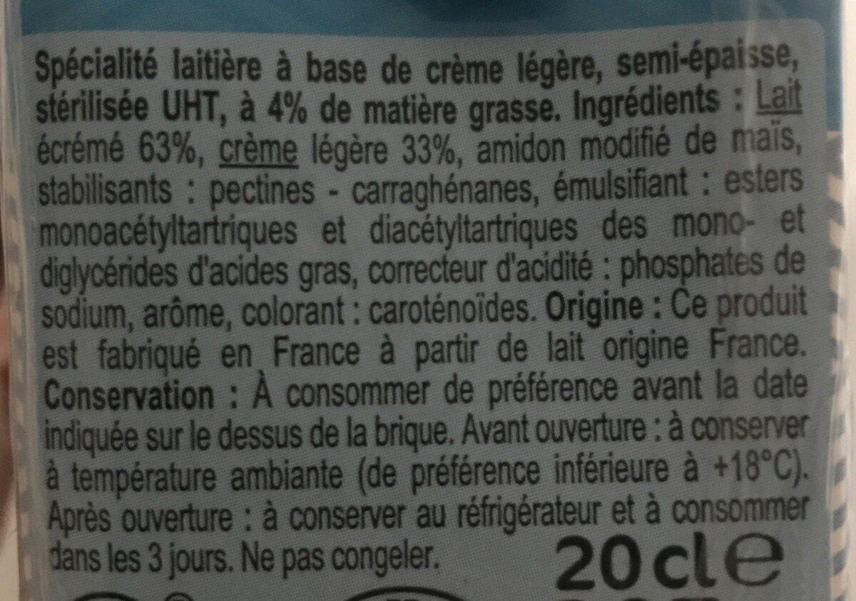 Specialite laitiere semi epaisse 4% carrefour - Ingrediënten
