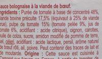 Sauce Bolognaise + de viande - Ingredients - fr