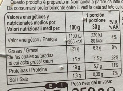 Le camembert - Voedingswaarden - es