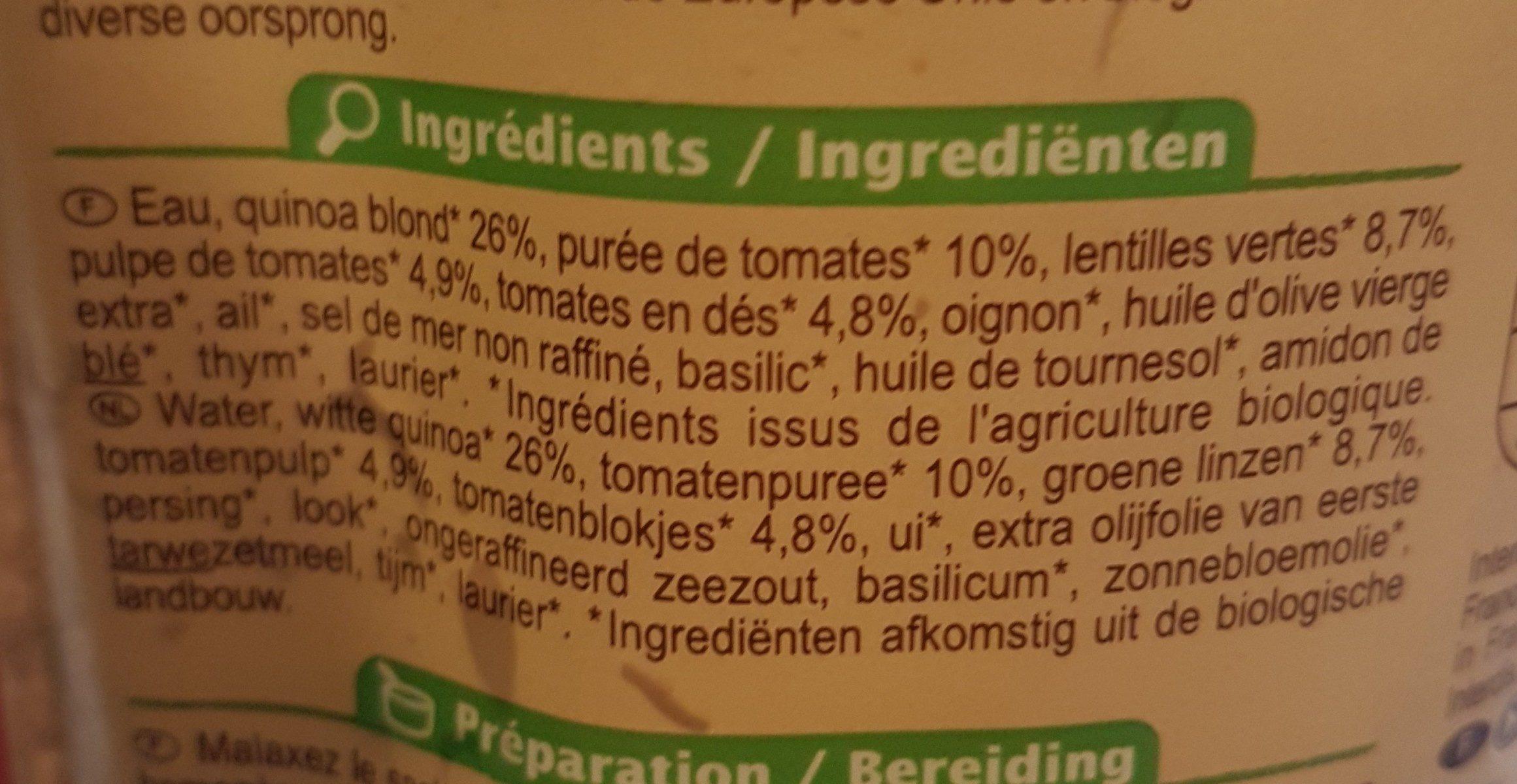 Mélange quinoa lentilles tomates - Ingrédients - fr