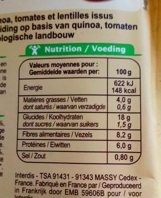 Mélange quinoa lentilles tomates - Informations nutritionnelles - fr