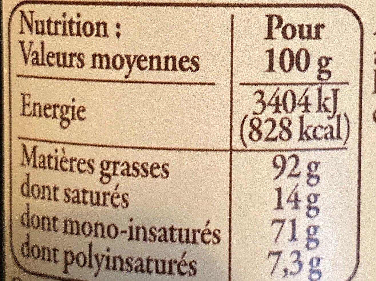 Huile d'olive AOC - Informations nutritionnelles - fr