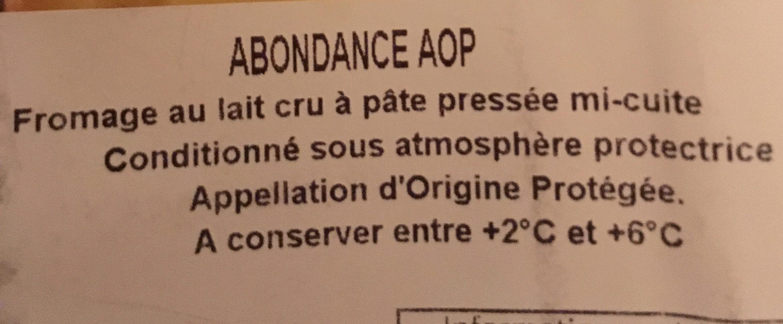 Abondance AOP - Ingredients