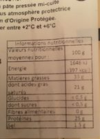 Abondance AOP - Nutrition facts