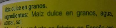 Maíz Dulce - Ingredientes - es